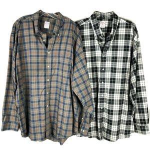 Brooks Brothers MENS XXL Plaid Shirts LOT2 Button